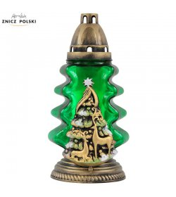 CHJ - Christmas tree glass candle with decorative application